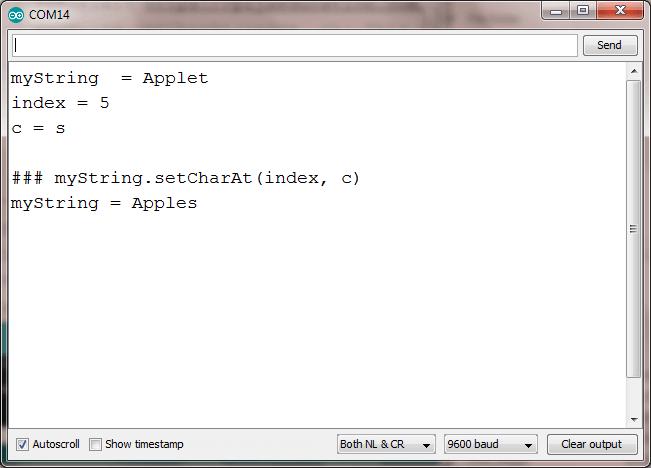 setCharAt string arduino