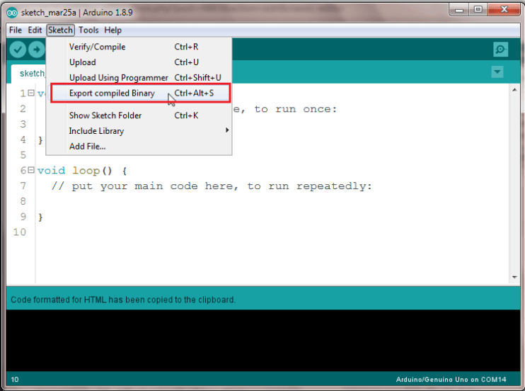 Export Compiled Binary Arduino