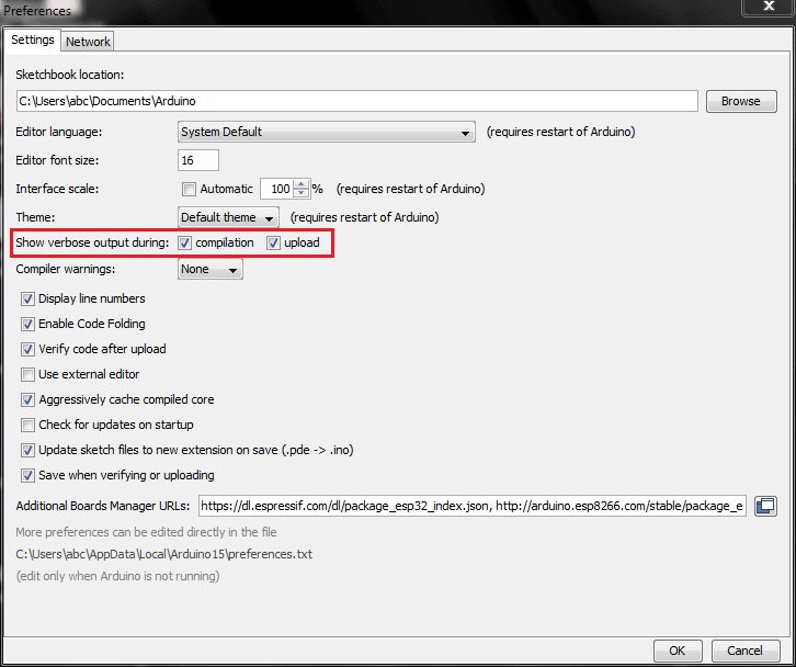 Show verbose output during compilation and upload Arduino IDE