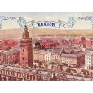 Pocztówka XIX wieczny widok z wieży mariackiej na Rynek Główny
