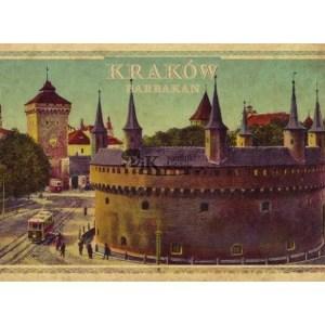 Pocztówka XIX wieczny widok Barbakanu