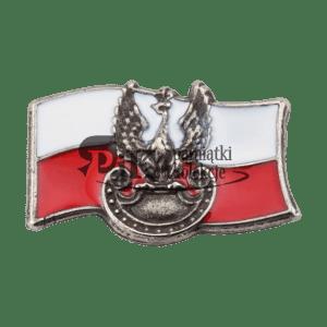 Przypinka polska flaga z orłem wojskowym