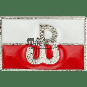 Przypinka Polska flaga ze znakiem Polski Walczącej