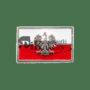Przypinka miniatura polskiej flagi orłem współczesnym