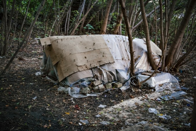 Homeless campsite in the woods