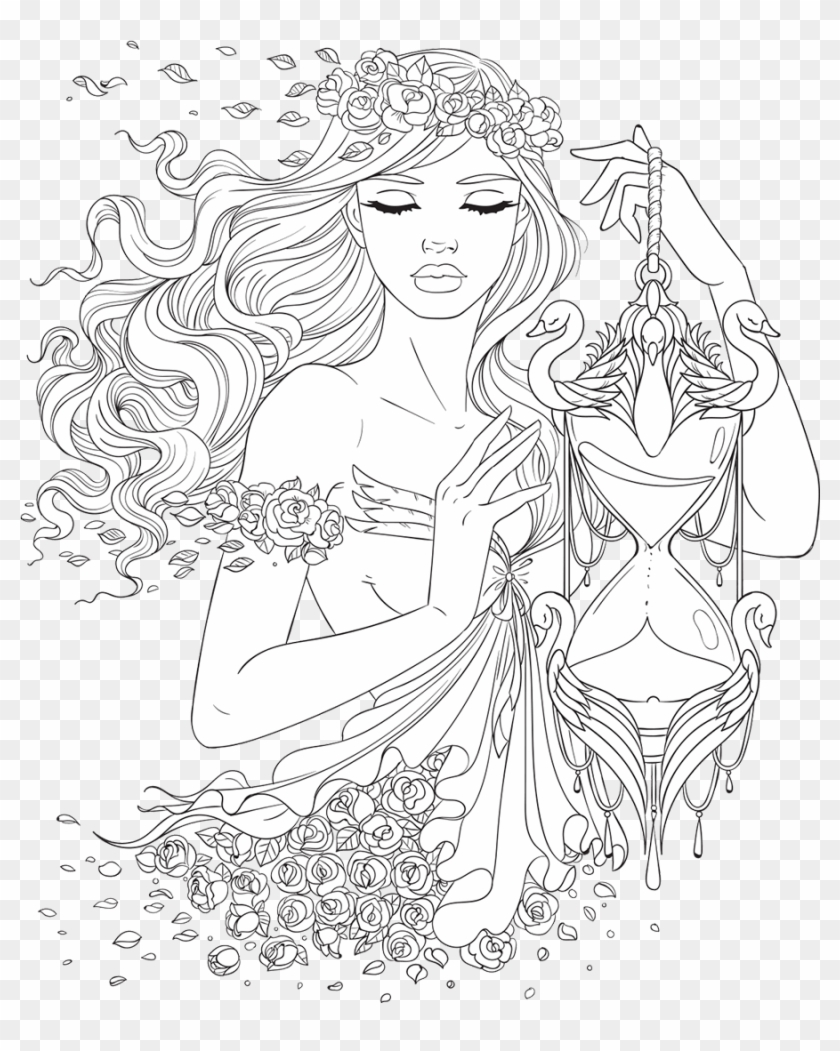 Beautiful Girl Coloring Pages : beautiful, coloring, pages, Artsy, Beautiful, Women, Coloring, Pages, Adults, Clipart, (#2672269), PikPng