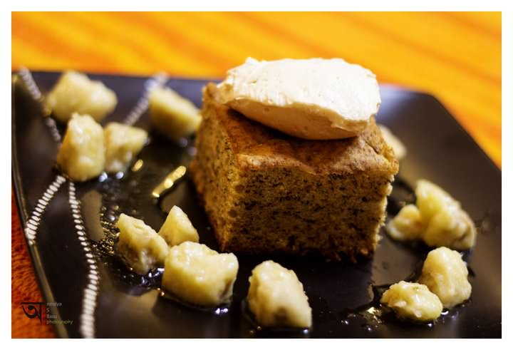 Banana Bread with Maple Butter cream and fried bananas