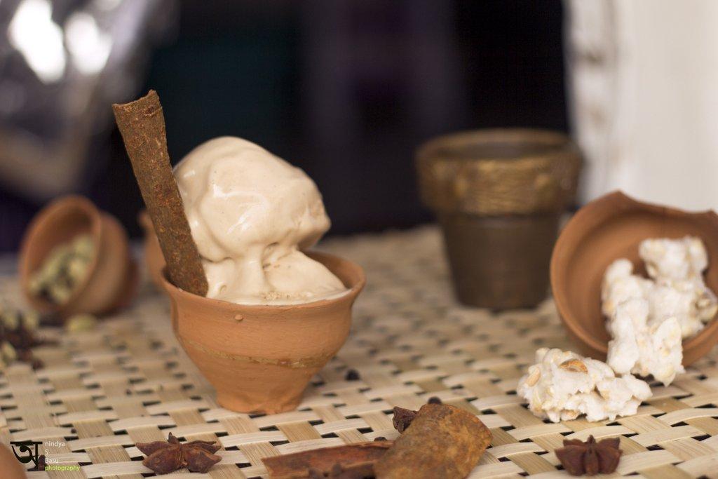 Masala Tea Ice Cream with ingredients