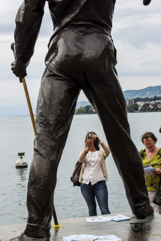 Tourists clicking picture of iconic Freddie Mercury statue in Montreux