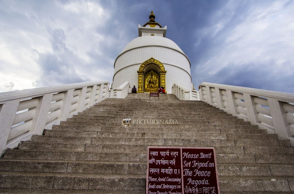 World Peace Pagoda Pokhara close look