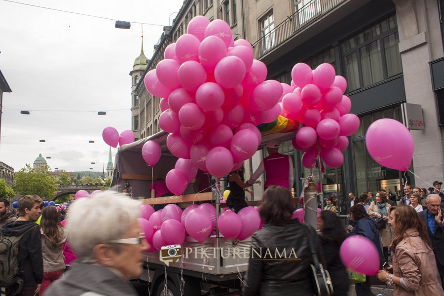 Pink coloured balloons at Zurich Bahnhofstrasse LGBT Parade