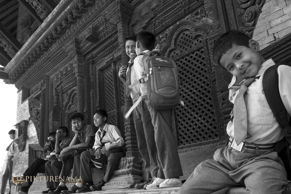 School kids at playful mood at Bhaktapur DurbarSquare