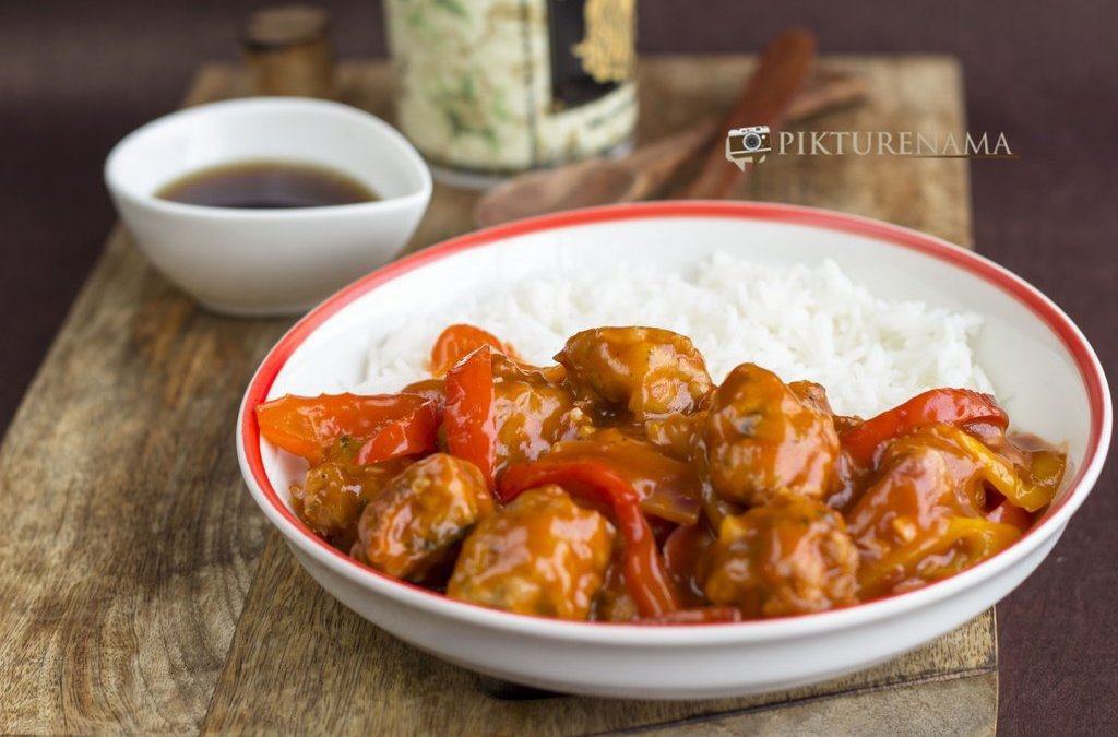 chicken nuggets in sweet and sour sauce by pikturenama as main course