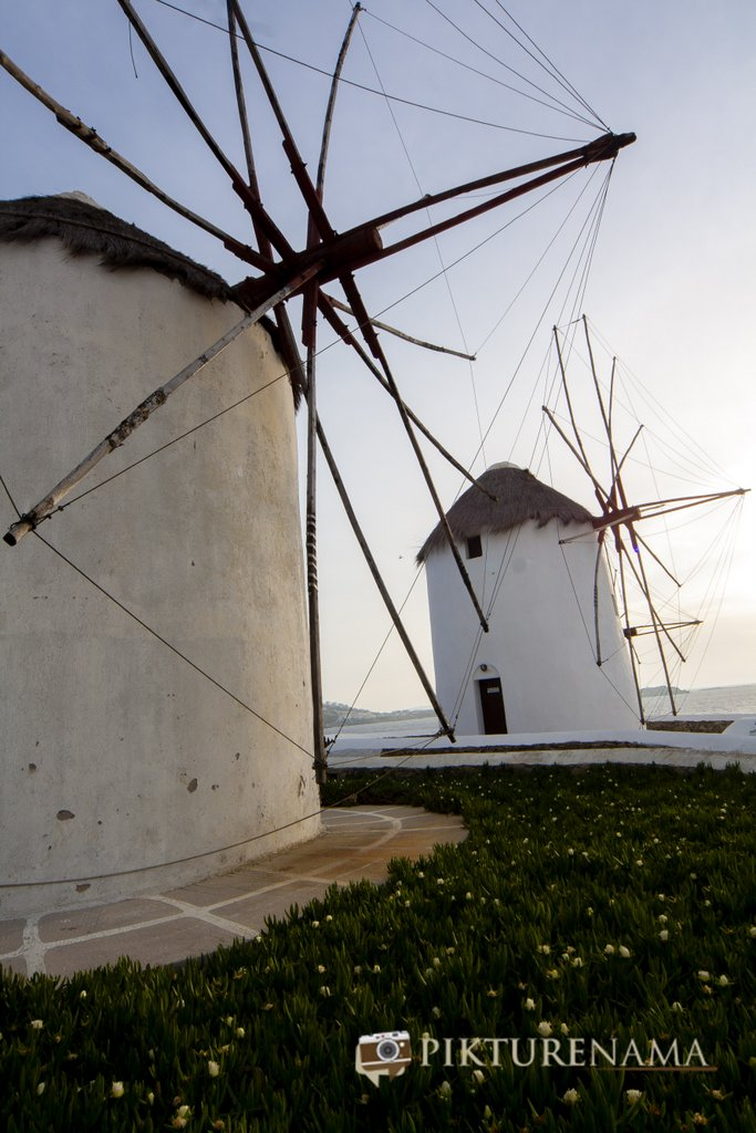 Senset view of Kato Myloi - The windmills of Mykonos Greece by pikturenama