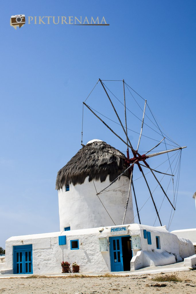 Kato Myloi - The windmills of Mykonos Greece by pikturenama in morning