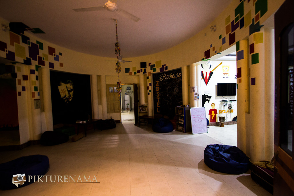 Varanasi Zostel by pikturenama common hangout area