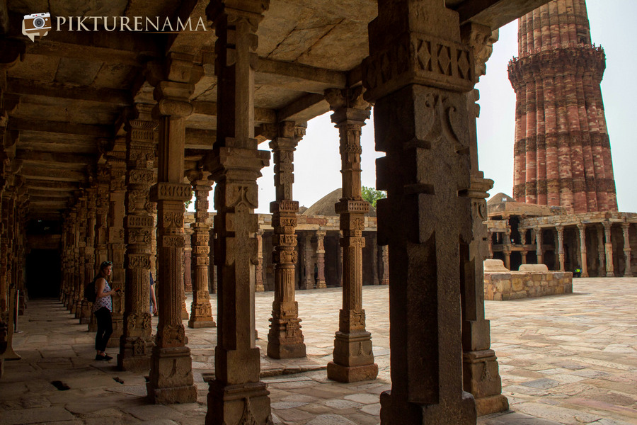 Qutub Minar and Qutub complex temple pillar remains