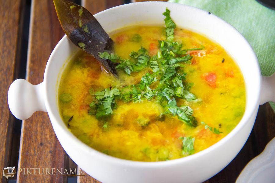 Sobji Diye bhaja Muger dal recipe (Bengali style Moong dal with vegetables)