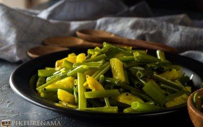 Alu Peyajkolir Torkari- Bengali Onion Stalk and Potato Vegetable