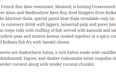 This Durga Puja – What's Cooking ?