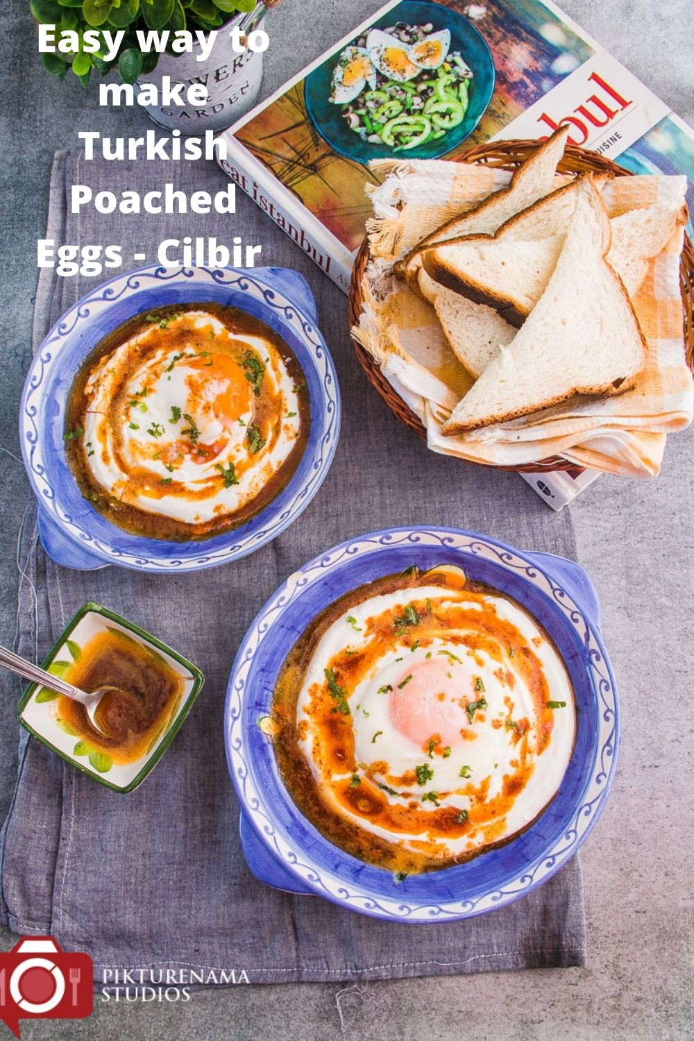 Easy way to make Turkish poached eggs - Cilbir for Pinterest