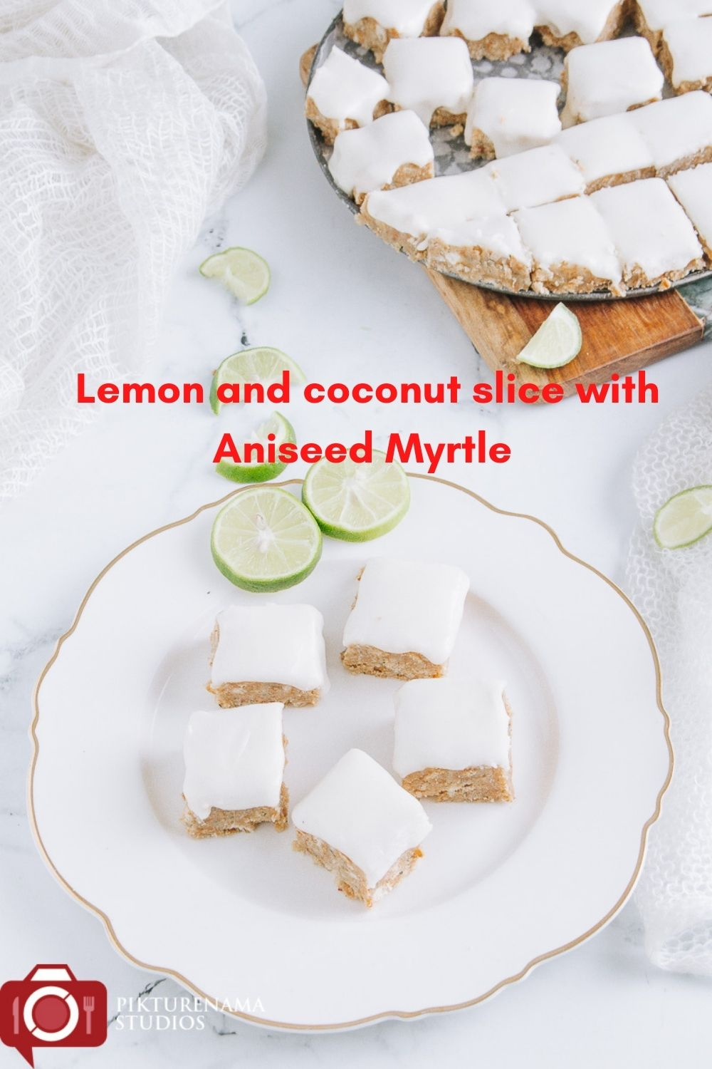 lemon and coconut slice with Aniseed Myrtle for Pinterest