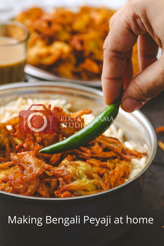 Easy Bengali Onion Fritters - Peyaji at home - 2