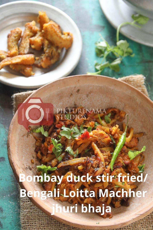 Bombay Duck Stir Fry / bengali loitte macher Jhuri bhaja - pinterest 3