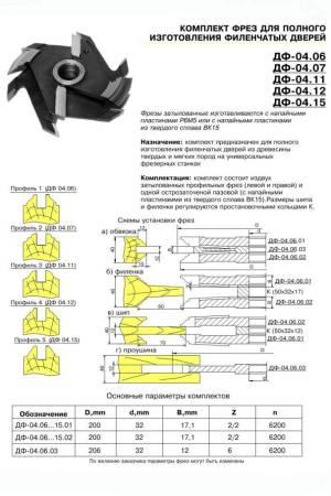 ДФ-04.06 комплект фрез для изготовления филенчатых дверей, Р6М5, 3 фрезы