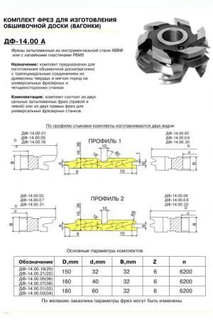 ДФ-14.00А ПР№2 комплект фрез для изготовления вагонки 140*32