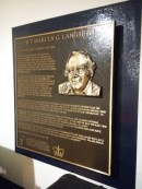 A plaque on board the ship commemorating Marcus G Langseth.