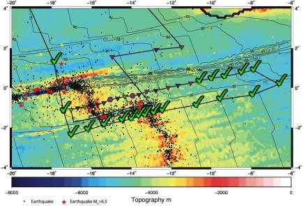 Map showing the stations deployed so far and the remaining stations to be deployed in the coming days. The map shows a wealth of information about the area known as St Paul and Romanche Fracture Zones across the mid-Atlantic Ridge. The different shaded ocean bottom shows the depth-varying bathymetry; red shade indicates shallow water (still deeper than 1,500 m) - mostly at the ridge and along the fracture zones. The thin, black, numbered lines are age contours in million years from the present. The black dots are earthquakes. Larger magnitude earthquakes are marked in red stars. The various coloured symbols indicate deployment sites. Green checked marks are the current completed sites.