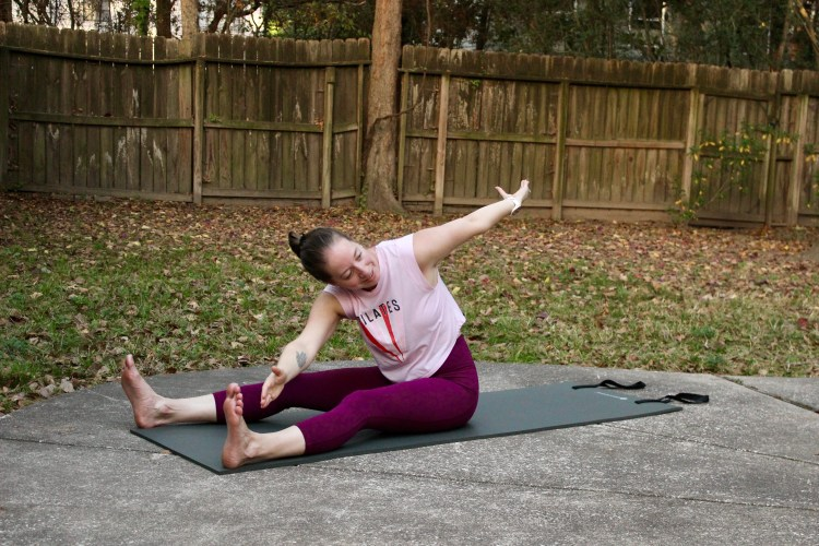 Breathe out during a twist to release tension.