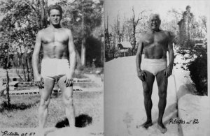 Joseph Pilates at age 57 and age 82