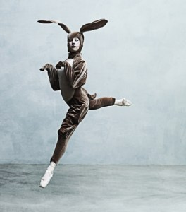 Ballet dancer dressed as a rabbit