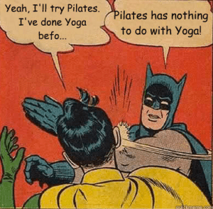 Batman and Robin discuss Pilates