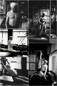 Multiple scenes of Joseph Pilates teaching clients