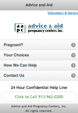 Mobile Website for Advice & Aid Pregnancy Centers