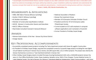 New Qualifications Summary Design for Karen Ramos Interiors!