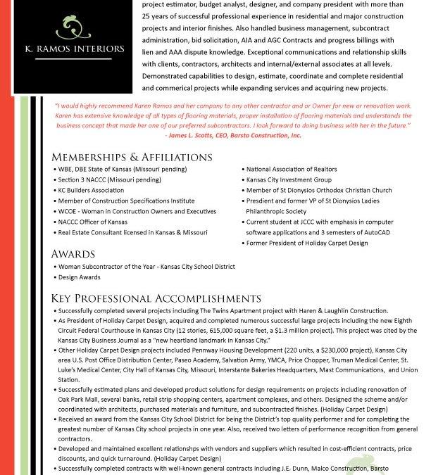 New Qualifications Summary Design for Karen Ramos Interiors!