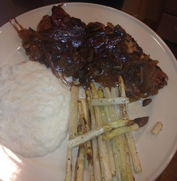 Chicken Marsala, cauliflower/parsnip mash and white asparagus