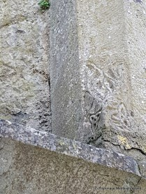 Carved decoration at base of window in the southeast corner of church at Askeaton Friary.