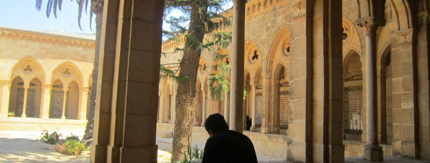 Bishop Oscar Cantu meditates at Pater Noster in Jerusalem while on pilgrimage with us.