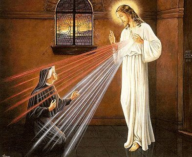 Sister Faustina Kowalska receiving the Divine Mercy apparition