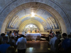 Then-Deacon Wilcox serves at Mass on Mount Tabor, site of Jesus' Transfiguration