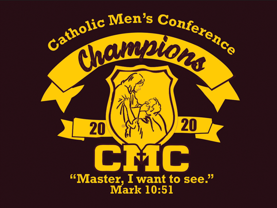 Maroon shirt front with Catholic Mens Conference Champions 2020 logo design