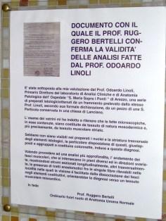 Document confirming validity of the analyzes made by Prof. Odoardo Linoli