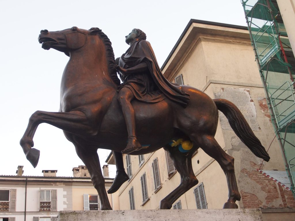 Statue outside Pavia cathedral