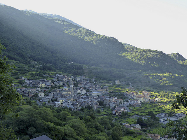 Shortly after leaving Pont St Martin, the high path overlooks the tops of villages below