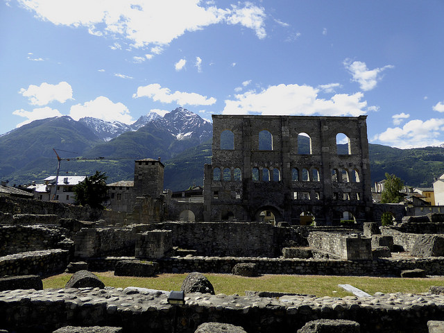 the remains of the once massive Roman theatre in Aosta